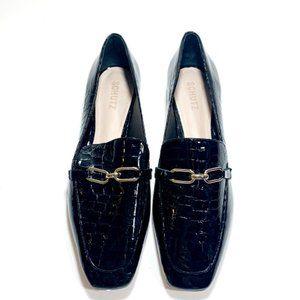 Schutz Patent Croc Black Loafers
